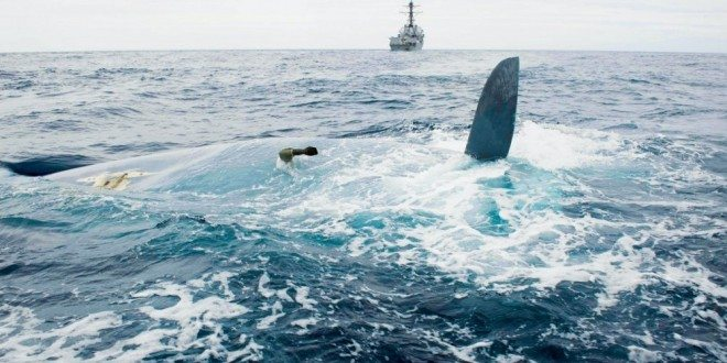 The overturned hull of the Cheeki Rafiki is shown as discovered by a U.S. Navy warship within the search area approximately 1,000 miles east of Cape Cod. Photo: U.S. Navy
