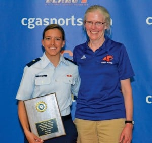 Nicki Barnes is presented with her award by CGA Faculty Athletic Representative, Dr. Kathy Krystinik. Photo: Paul Duddy