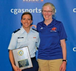 Nicki Barnes is presented with her award by CGA Faculty Athletic Representative, Dr. Kathy Krystinik. Photo: Paul Duddy