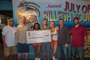 Photo: Team Pescador wins 2013 July Open Billfish Tournament. L to R: Josh Bourg (mate), Stephen Deckoff, Sr. (top angler), Stephen Deckoff, Jr. (angler), Capt. Jay Fowler, Mark Jenkins (mate), holding hand-carved marlin head trophies by marine artist, David Wirth. Credit: © Scott Kerrigan/AquaPaparazzi.com