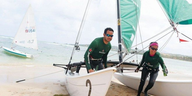 Francisco 'Faccio' Figueroa (left) and Jolliam Berríos won the Hobie 16 class. Photo: Dennis Rivera