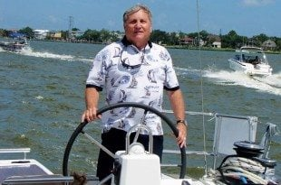 Vince Morvillo at the helm of a Beneteau 38 on Clear Lake, Texas. Photo by Kathy Bohanan Enzerink