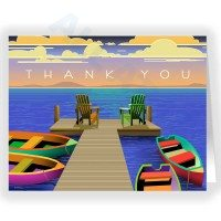 Colorful Boats Thank You Note Card