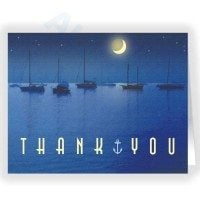 Nightime in the Harbor Thank You Note Card
