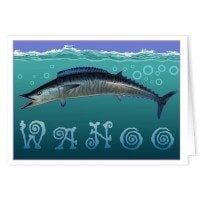 Wahoo Blue Fishing Note Cards