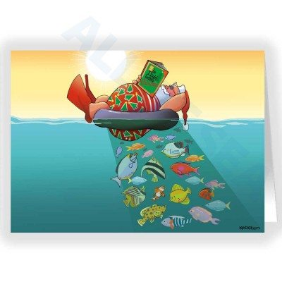 Santa Floating in the Ocean Christmas Card - Santa is a Fish Aggregating Device