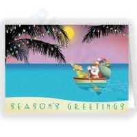 Tropical Row Boat Christmas Card