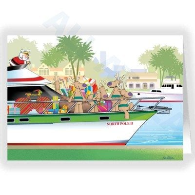Santa Yachting Nautical Card