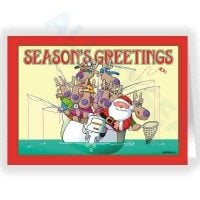 Party Boat Santa Fishing Holiday Card