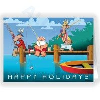 Santa fishing with the Reindeer on the Dock Fishing Christmas Card