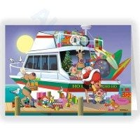Santa elves and Reindeer Loading The Ho Ho Ho Boating Holiday Card