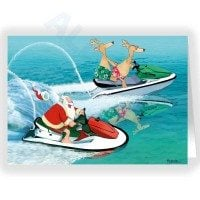 Santa and Reindeer Jet Ski Holiday Fun Christmas Card