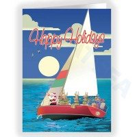 Santa Sailing with Reindeer SailBoat Holiday Card