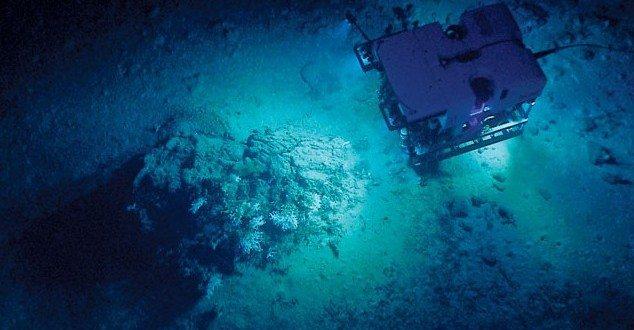 An ROV cruises the Gulf of Mexico seafloor with NOAA's research ship, Okeanos Explorer. Credit: NOAA