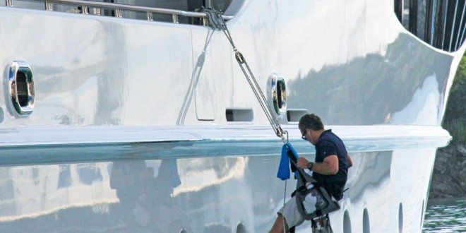 Deck crew keep superyachts in Bristol condition. Photo credit is: Suki@YachtingToday.TV
