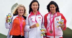 Silver, Gold and Bronze (from left): Odile van Aanholt (Ned); Samantha JingYi Yom (Sin) and Jarian Brandes (Per)