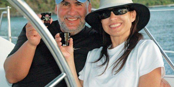 Captain Tony and his wife Maria enjoy rum shots while at anchor in St. John, USVI. Photo by Captain Tony Miró