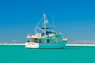 Chuck and Barbara Shipley's 48ft Kadey-Krogen North Sea Tusen Takk II photographed in La Tortuga, Venezuela