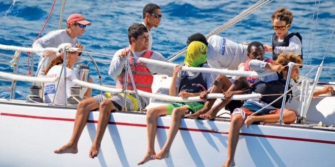 Stan Joines, winner of Non-Spinnaker and his weight in rum, had an all youth crew. Photo: Trish Rhodes