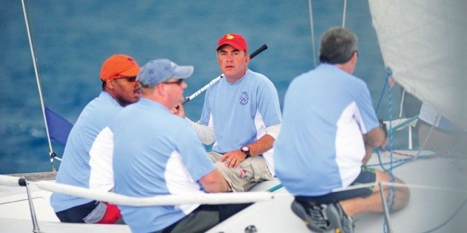 Anthony Kotoun sails to victory during the Bitter End Yacht Club Pro Am Regatta. Photo: Todd VanSickle