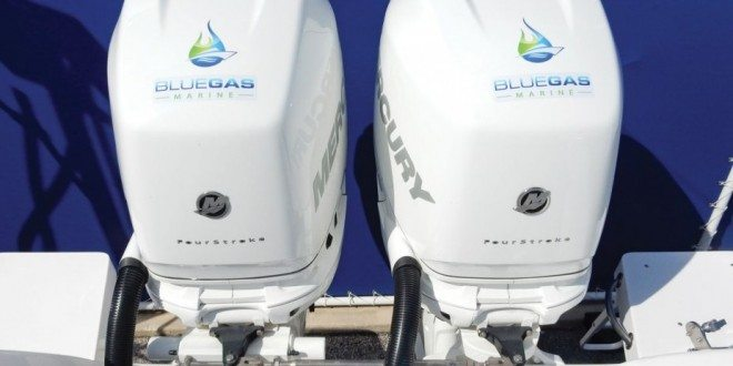 Twin Mercury Verado 300 engines that have our Natural Gas EFI system installed. These are the first hybrid Mercurys that run on Gasoline or Natural Gas, on demand. Photo Credit: BGM