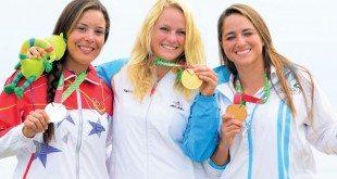 Laser gold medal winner Philipine Van Aanholt (center). Guatemalan sailors took silver and bronze