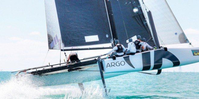 GC32 foiling catamaran Argo having rounded the windward mark. Photo by Ingrid Abery