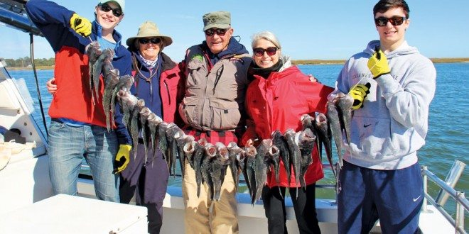 "From left to right: Brent Noseworthy, Captain Judy, Ranger Bob, Terri Collins ""Cuz Two"" and Cooper Napoli. Ranger Bob caught the largest and the most fish on this day. Photo by Captain Judy Helmey"