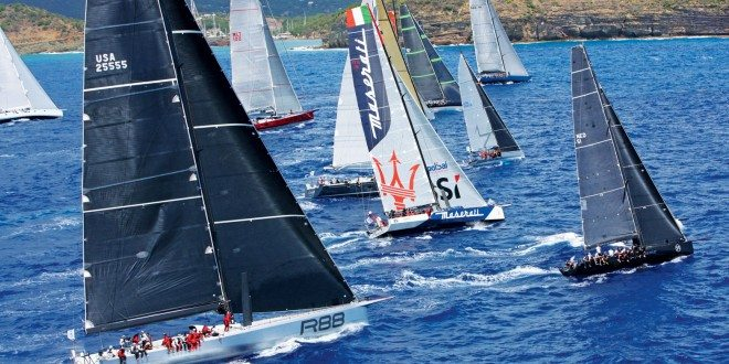 A spectacular start to the 2015 RORC Caribbean 600 as IRC Zero and Canting Keel Class, including George David's Rambler 88 and John Elkann's Volvo 70, Maserati, cross the line. Photo: RORC/ Tim Wright/Photoaction.com