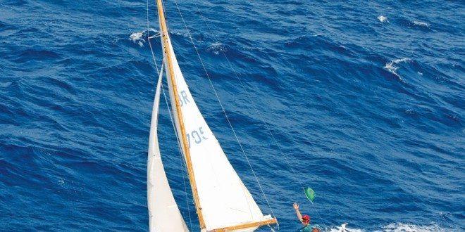The Folkboat Lorima. Photo: Jean Jarreau /www.HeliPhotoCarib.com