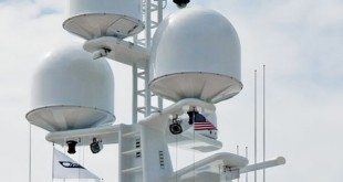 Antenna farm on a super yacht. Photo By Glenn Hayes