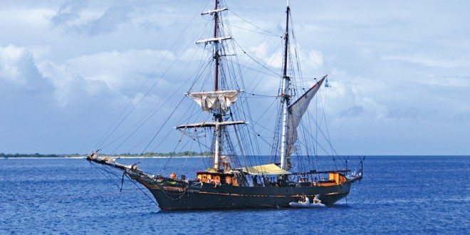 The sailing freighter Tres Hombres with her cargo hold full of organic Caribbean produce. Photo By Sanny Ensing