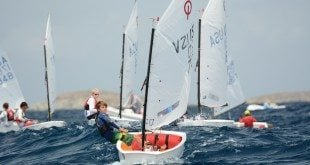 The USVI's Teddy Nicolosi leads the pack to an overall win at the 23rd International Optimist Regatta. Dean Barnes photo.
