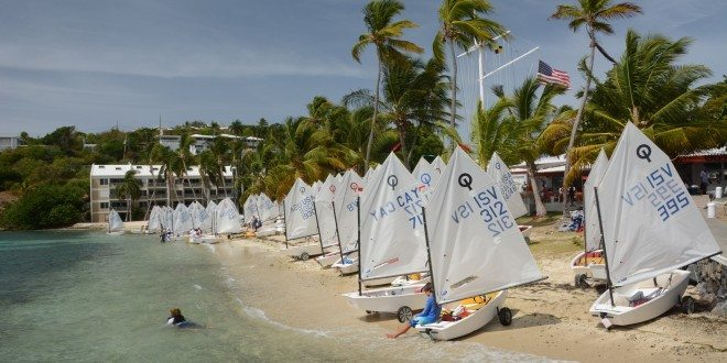 Optimists on the beach at the St. Thomas Yacht Club ready to launch for the International Optimist Regatta. Credit: Dean Barnes