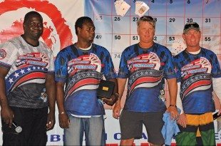 USVI Poker Run (from left): Organizer Guilderoy Sprauve, winner Terrance Phillips, second place Gunnar Watson and third place Tony Coffelt