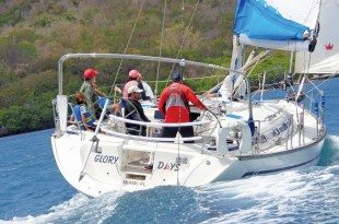 Glory Days, a Bavaria 44, gets underway at the start of the race