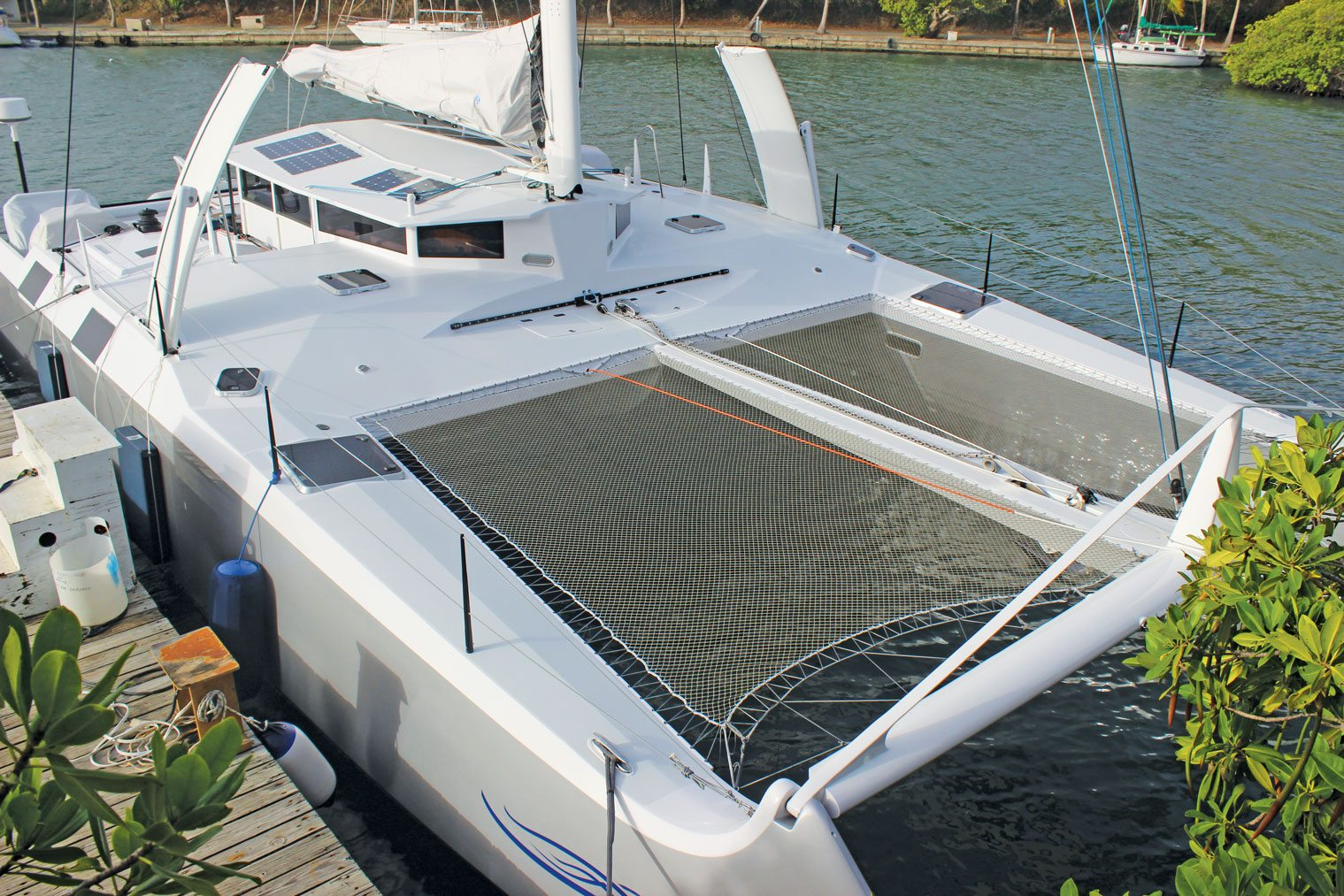 Looking aft from the starboard bow of Gold Coast Yachts' new Catamaran