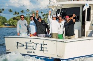 The winning fishermen aboard Peje (front, from left): Joselo Hernandez, Rafael Caicedo, Efrain Rodriguez, Caíto Chapel and Captain Juan Jose Garcia. Bryan Ramos (back) is the IGFTO observer. Photo: Mark Smestad