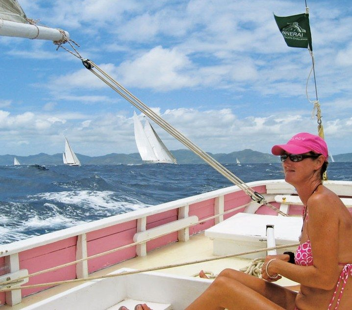 Captain Kirsty at the helm of Pink Lady