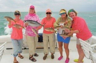 Ladies aboard Blue Chip Too on Florida Keys Ladies Fishing class