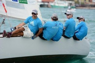 Canfield, far right, and his team racing in the Carlos Aguilar Match Race, presented by AeroMD, in December in St. Thomas. Credit: Dean Barnes
