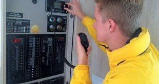 The VHF Radio Distress Call:VHF operator in action. Photo: Jeff Werner