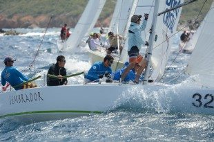 Fast-paced racing round-the-islands in gusts over 30 knots in St. Thomas International Regatta. Credit: Dean Barnes