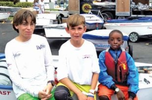 BVI Youth Sailors: Team BVI sailors in Miami (from left): Rayne Duff, Nathan Haycraft and Ryan Lettsome