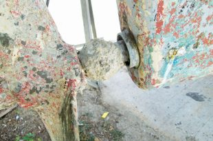yacht safety: Oxygen deprivation corrosion:The propeller shaft inside the tube, where you can't see it, is prone to crevice corrosion. Photo: OceanMedia