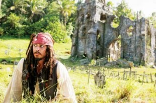 Caribbean Movie Destinations: Captain Jack Sparrow, aka Johnny Depp, struts his stuff on set in Dominica. Photo courtesy of Dominica Film Commission