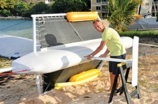 New Hydrofoiler: Tom Kozyn adds the finishing touches to the monohull hydrofoiler