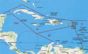 """Lesser Antilles Cruising Guides: Caribbean quadrants map taken from """"A Thinking Man's Guide to Cruising the Caribbean"""""""