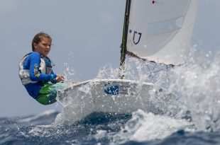 St. Thomas' Mia Nicolosi takes part in the TOTE Maritime Clinic as part of hte International Optimist Regatta, presented by EMS Virgin Islands. 2016 IOR St Thomas - © Matias Capizzano