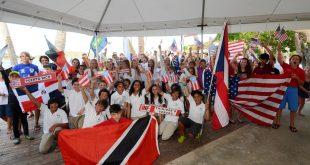 Parade of Nations kicks off the International Optimist Regatta, presented by EMS Virgin Islands. Photo credit Dean Barnes.